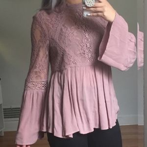 American Eagle Dusty Rose Lace Bell Sleeve Top